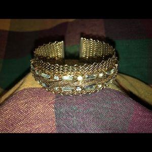 Vintage Brass Crystal cuff bracelet